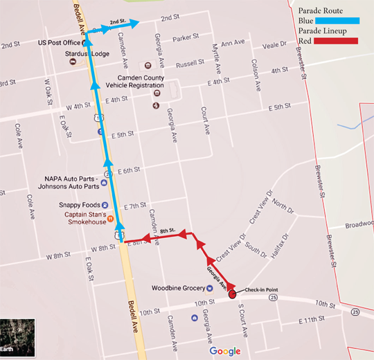 Woodbine Crawfish Festival Parade Map